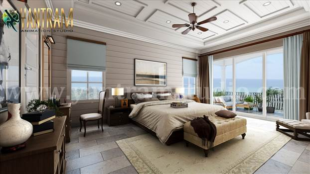 Master Bedroom with Species Balcony - Project 1140:  Master Bedroom with Species Balcony 3d interior rendering services