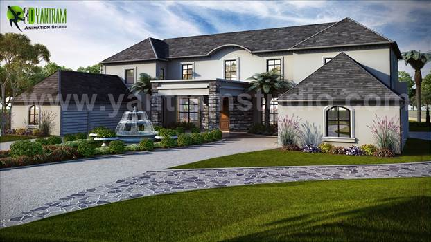 Yantram Residential Renderings Studio exclusive home design content including interior design, outdoor design, living room, island kitchen, wood flooring, stair design, fountain, ceiling design, landscape design, Garage ideas, luxury lifestyle and more.