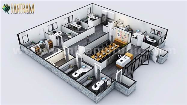 3D Commercial Office Floor Plan Designer Ideas - Project 824:- Commercial Office Floor Plan Designer with Classic interior