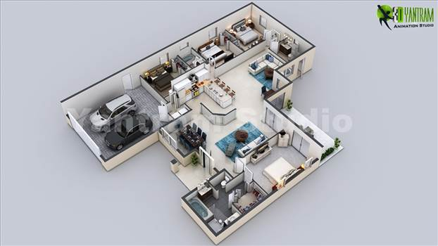 3D Virtual Floor Plan of Luxurious Villa Design - 3D Virtual Floor Plan of Luxurious Villa Design, 3D Cut Section Floor Plan Bungalow with 4 Bedrooms, Open Island Kitchen with Wooden Furniture, Beautiful Living Room With White Sofa and Coffee Table, Architecture 3d Modern Luxury Home Plan With Parking Ar