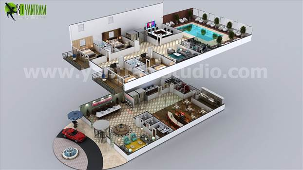 We had included a complete set of areas for a 7 start hotel like - Unique designed Pool Area, Bedrooms with attached Bathrooms, Restaurant, Reception Area, Waiting Area, Bar, Employee station.
