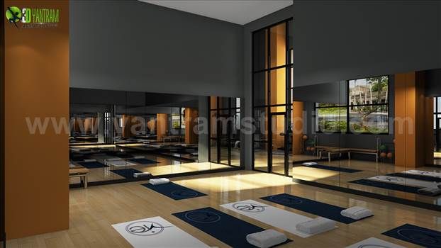 Amenities Area Interior Rendering Apartment - Amenity Ares are a desirable & useful feature or facility of a building and it should be the most pleasantness and attractiveness of a place. Here are all areas Grand Hawana, Group Fitness, Gym, Lobby Area, Roof Top View.