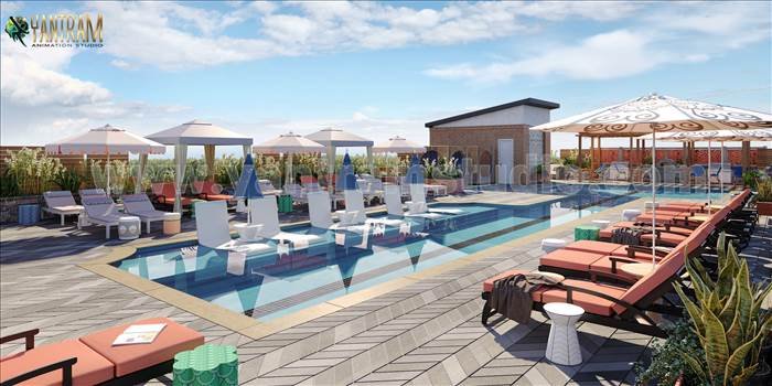 Architectural Courtyard Pool View - Project 1140:  Courtyard pool view of 3d Exterior Rendering Services