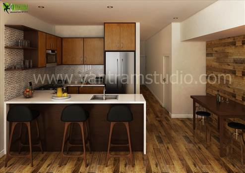 Future 3D Interior Kitchen Design View, Yantram Studio have compilation of trendy and modern interior design Greece ideas for your kitchen.  Our Expertise in photo-realistic renderings studio Chicago, photo-realistic renderings firm Qatar, 3D Interior Ren