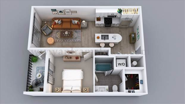 3D Semi-Classic Floor Plan Rendering Service by - We create high quality Plan design/ 3d floor plan with all details covering flooring; lighting, texturing, furniture, etc. provide a unique visual representation for Residential apartment of 1 Bedroom 3D Floor Plan Rendering Service. We can transform arch
