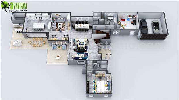 Exclusive New Modern House Virtual Floor Plan - Exclusive New Modern House Virtual Floor Plan, Full Size of Luxury Modern House Floor Plan With Car Garage, Master Bedroom With Outstanding Wooden Furniture And Bathroom, Beautiful Kids Room With White Flooring, Large Living Room And Dining Room, Large Is