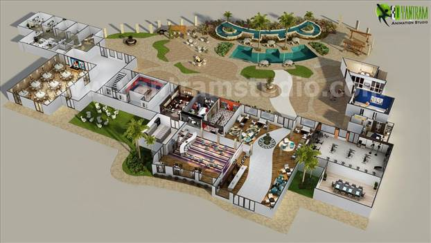 Conceptual Resort Floorplan Design Ideas Dubai UAE - Resort floor plan is one of best conceptual floorplan of Yantram 3D Animation Studio where we had developed each area in detailing from reception to pool including employee station.