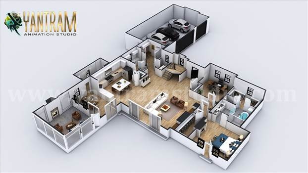 4-bedroom Simple Modern Residential 3D Floor Plan - Project 1135:  4-bedroom Simple Modern Residential 3D Floor Plan House Design
