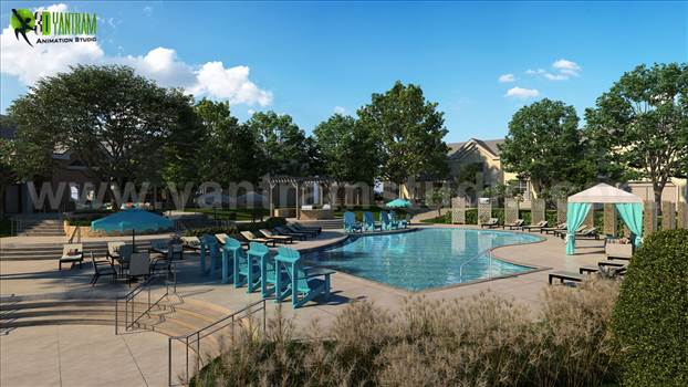 3D Exterior Pool View Rendering Service - Project 142: Modern Exterior Pool view