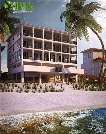 Beach Side Exterior House Rendering Boston USA - Best Beach Side Home rendering design by 3D Yantram Architectural Modeling Firm This will help you to present and close the deal better by presenting before the client a 3D view of the property they are going to buy or invest.
