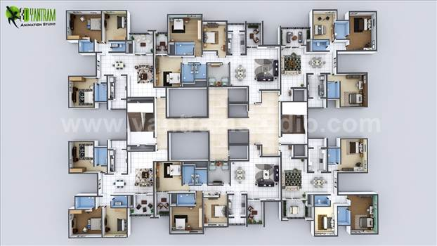 Creative Virtual Floor Plan of Entire Apartment - Project 19: Modern Apartment Floor Plan Design