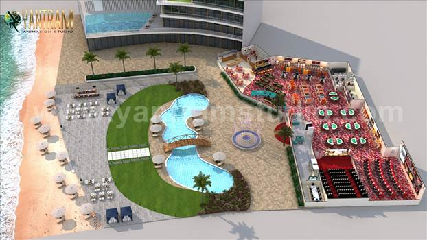 Unique GameZone 3D Floor Plan Rendering Service - Project 951:- Game Zone with Beach side Swimming Pool Floor Plan Design Ideas