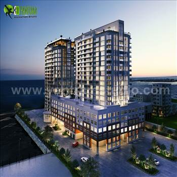 3D Exterior Of A New High-Rise Luxury Building - 3D Exterior Modeling Of A New High-Rise Luxury Building, Dusk View Of Modern Constructed Futuristic Buildings With Shining Exterior Lights, Building Exterior Rendering View With Street and Surrounding Small Buildings, A Super Modern High Rise Building Ext
