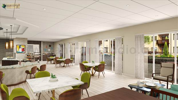 Residential Community Interior Amenities area - Project 1874 : Residential Courtyard Community of architectural rendering service