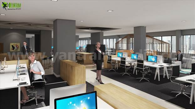Yantram interior design firms Studio create amazing office Workstation with computer For work, professional, DIY, for small space, creative, business, organization, desk, design, corporate.