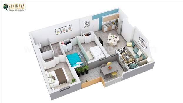 3D Home Floor Plan Design of Residential Apartment - Project 1003:- 3D Home floor plan design of Residential Apartment Layout 