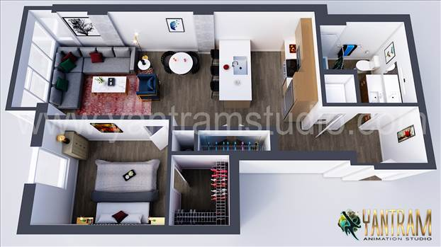 Modern Residential 3D Floor Plan Design Concept - Project 185:- Residential 3D Virtual Floor Plan Design Concept