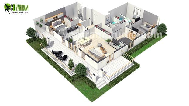 European 3D Home Floor Plan Design ideas by Yantram 3D Virtual Floor Plan Design, Paris - France