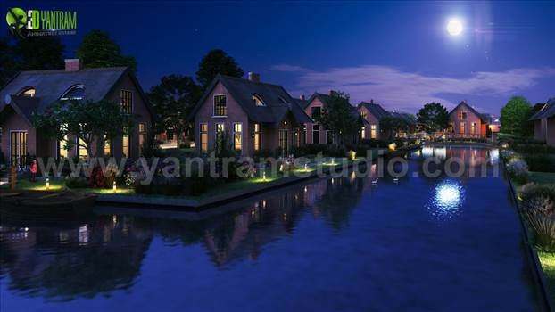 Romantic Night View of Waterside Villa 3D Exterior - Project 165: Night View of Waterside Exterior Villa