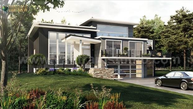 Modern Flat Roof Landscaping Exterior House - Project 198:- Flat Roof with Landscaping Exterior House 