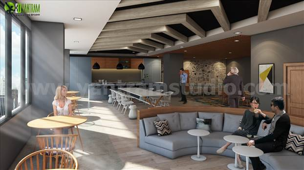 Commercial Modern Interior Office Design Ideas for your commercial office. 3 Renders includes all different ares with decent furniture like Waiting area, Refresh Bar, Kitchen, dining area.